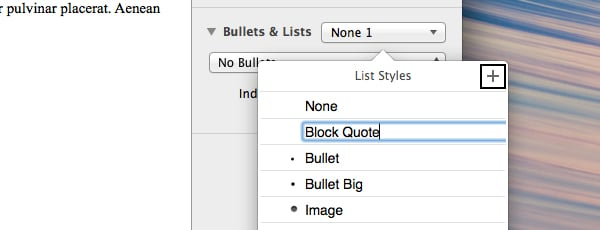 Add list style in Pages