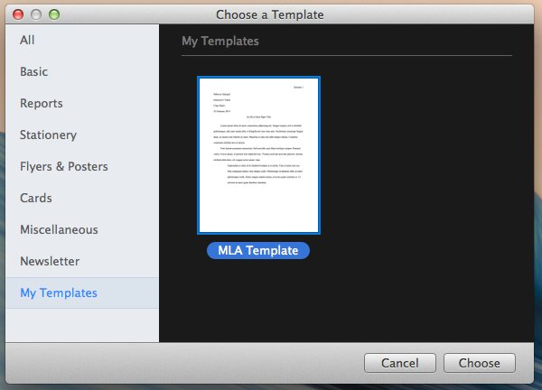 Using your own templates in Pages