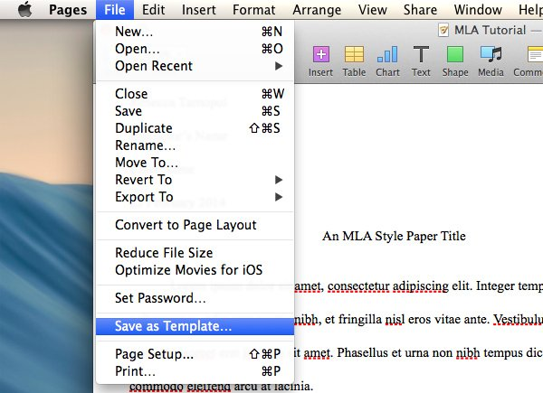 Save document template in Pages
