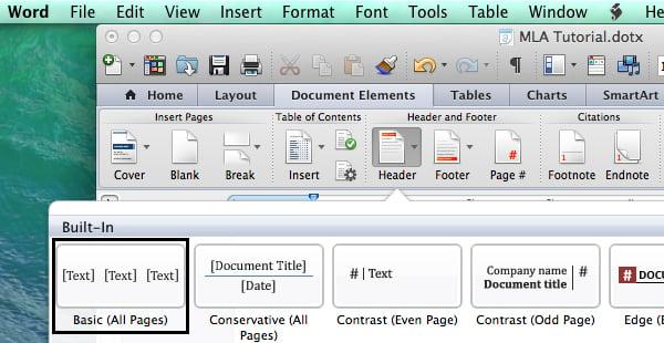 Set header options in Microsoft Word