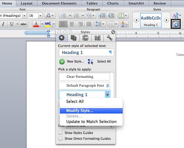 Modify heading style in Microsoft Word