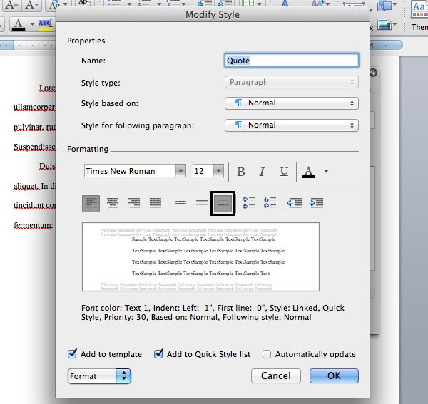 Change quote font settings in Microsoft Word