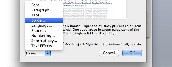 Change border options in Microsoft Word