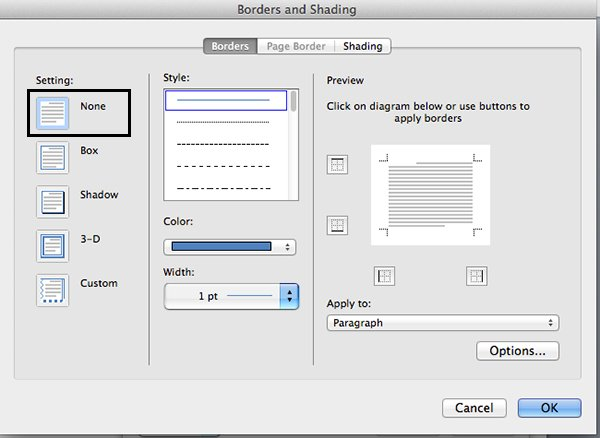 Turn off border in Microsoft Word