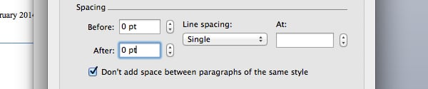 Change title spacing in Microsoft Word