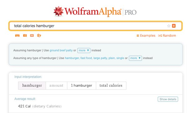 A WolframAlpha search for total calories in a hamburger