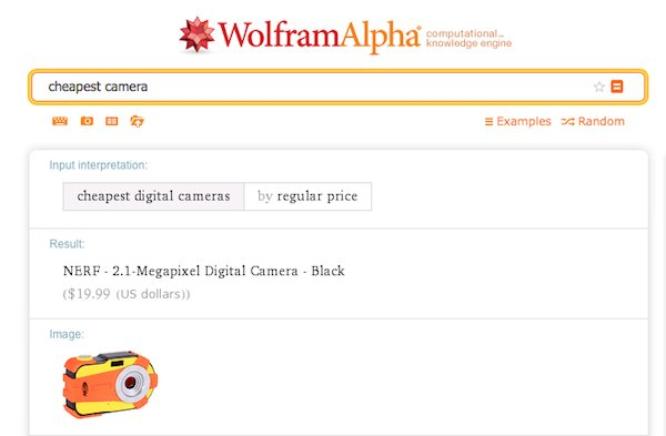 A WolframAlpha search for the cheapest camera