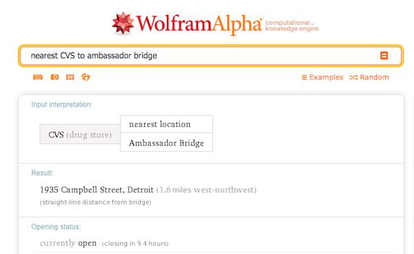 A WolframAlpha search for the nearest CVS to Ambassador Bridge