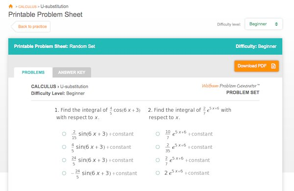 Wolfram Problem Generator can create printable worksheets for additional practice