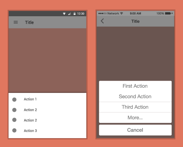 Action sheet differences on Android and iOS