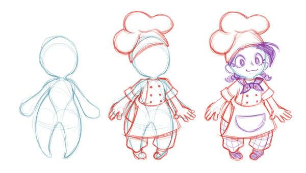 Character buildup sketches
