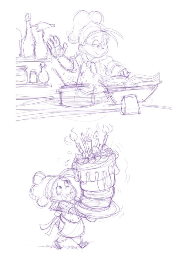 Character idea sketches