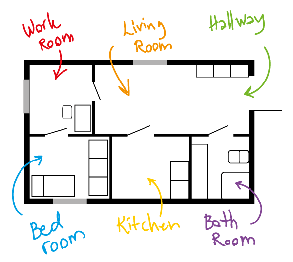 Apartment plan sketch
