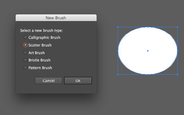 Create a Scatter Brush using a smaller oval shape