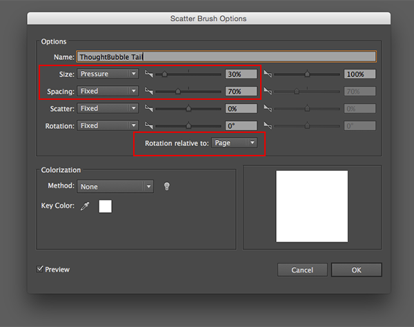 Use Pressure and Spacing settings and have the rotation relative to page