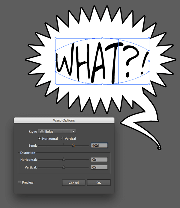 Use Bulge in the Warp Options to make the text even more lively
