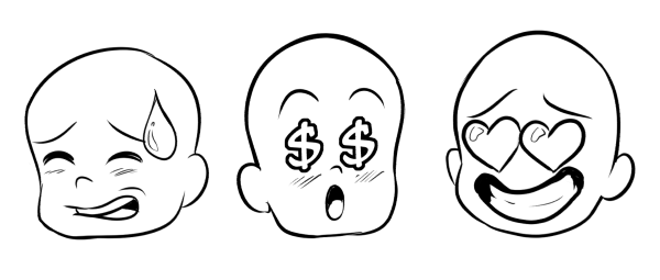 Three characters with hearts for eyes dollar signs for eyes and a large sweat drop on the forehead respectively