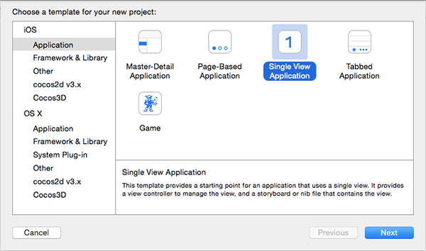 Choose application template