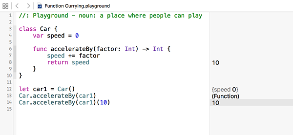 Function currying at work