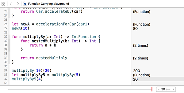 Custom function currying results