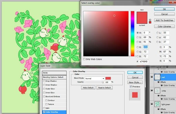 Seamless pattern in PS - setting colors through overlays