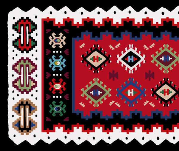 A possible final kilim design based on a traditional kilim - detail closeup