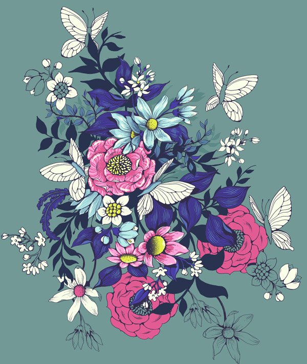 Make a floral pattern for fabric in PS - extending the main motif