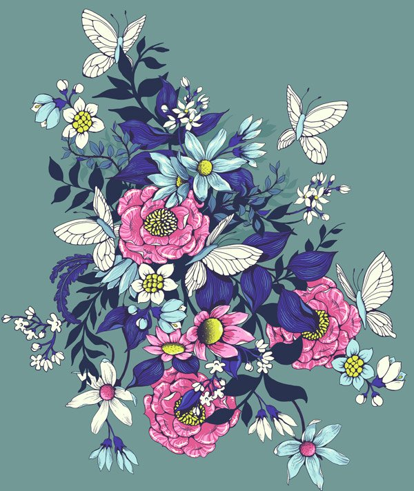 Make a floral pattern for fabric in PS - finished extended motif