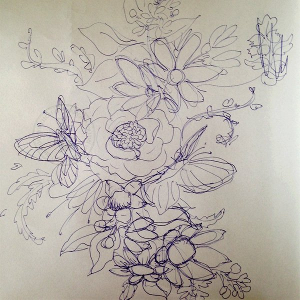 Make a floral pattern for fabric in PS - initial sketch