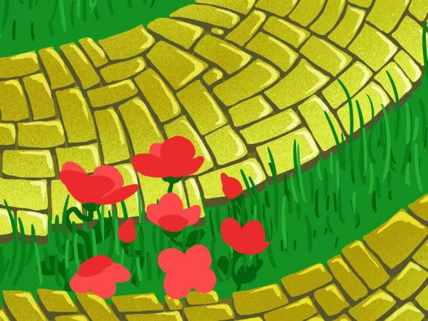 Brick Road and Poppy Field pattern - inner poppy petals