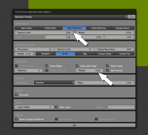 Cell Fracture settings
