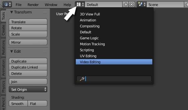 Video Editing screen layout