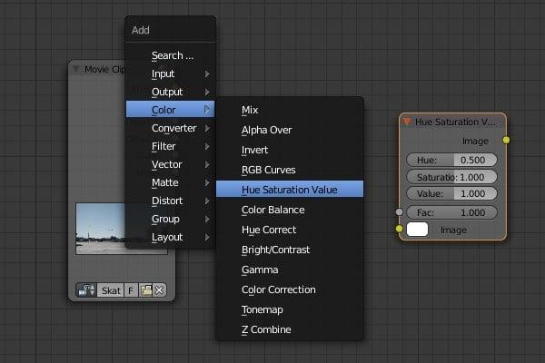 Adding Hue Saturation Value node
