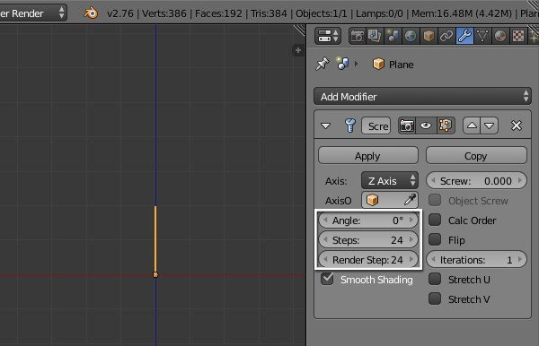 Screw modifier settings
