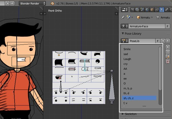 Creating pose library for mouth bone