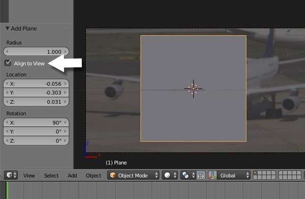 Aligning plane to camera view