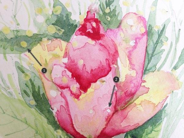 Masking fluid on painting