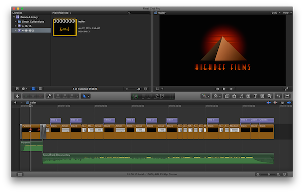 iMovie trailer in Final Cut Pro