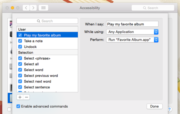 The Accessibility window allows you to enable advanced commands