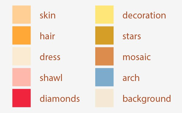 swatch of the main colors