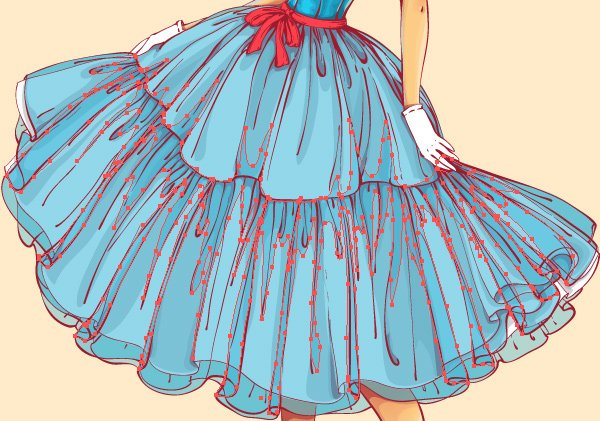 making creases on the skirt