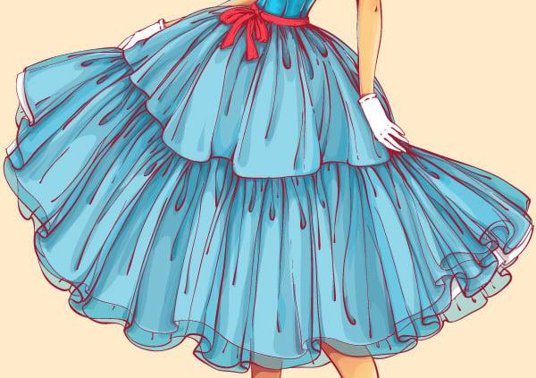 adding deep shadows to the skirt