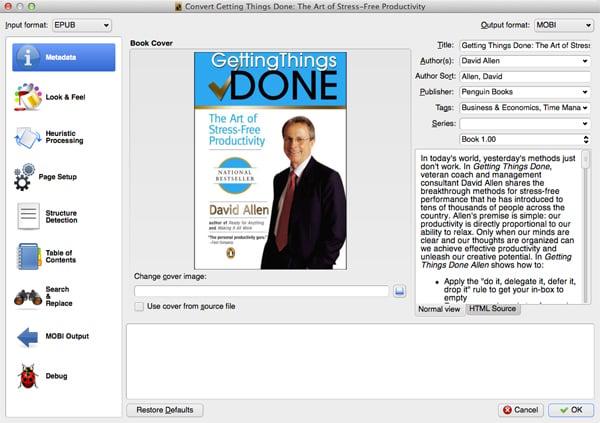 Converting an eBook in Calibre