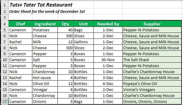 Duplicate Order List Excel