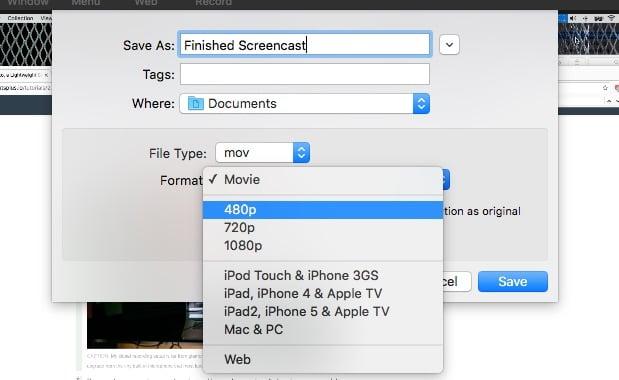 Export Finished Screencast Capto