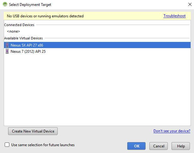 Android Studio—choose a virtual device