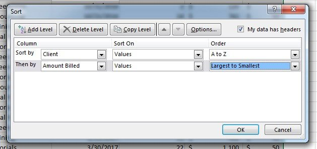 Two levels of Excel spreadsheet sorting