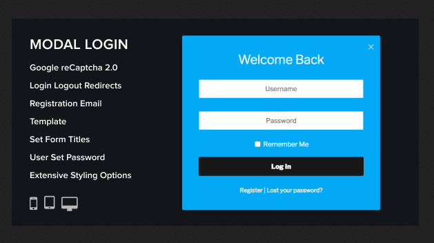 modal login register plugin