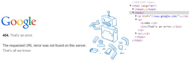 Google Error HTML Parser