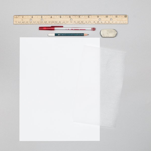 Supplies for tracing paper trick